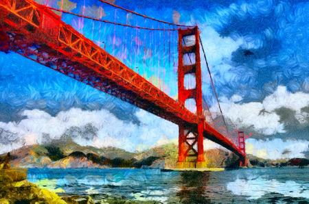 サンフランシスコ ゴールデン ブリッジ油絵