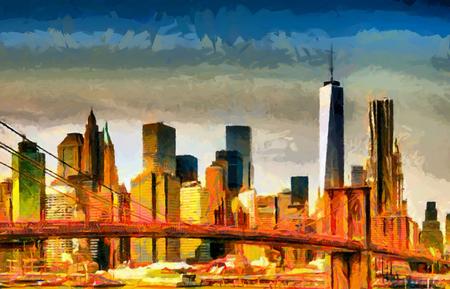 Pintura al óleo del panorama de los rascacielos del paisaje urbano del puente de Brooklyn
