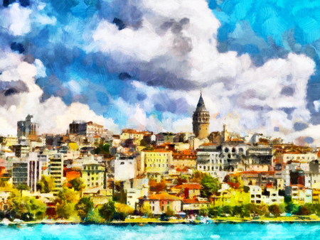 Istanbul view bosphorus oil painting