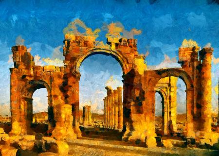 Palmyra arch, Syria oil painting