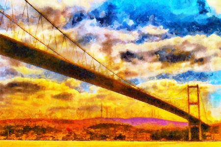 Suspension bridge over Bosphorus in Istanbul colorful oil painting
