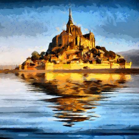 モン ・ サン ・ ミッシェル修道院水油絵に反映 写真素材
