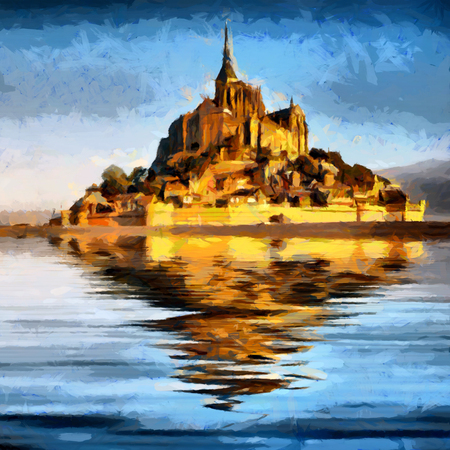 Abbazia di Mont Saint Michele riflessa nella pittura ad olio d'acqua