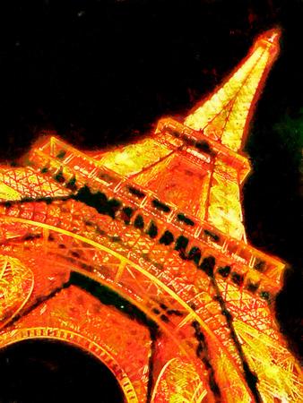 Eiffel tower Paris at night oil painting Фото со стока - 77531347