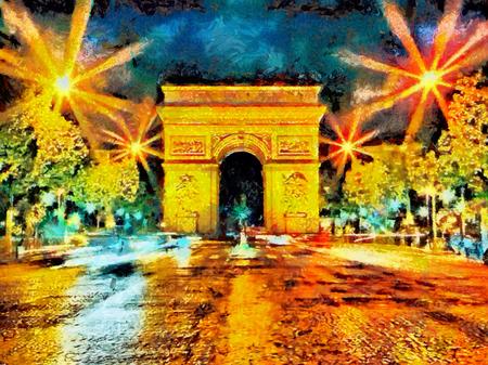 油絵でパリの夜ライトアップされた凱旋