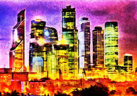 moscow city: Moscow city business buildings night landscape oil painting Stock Photo