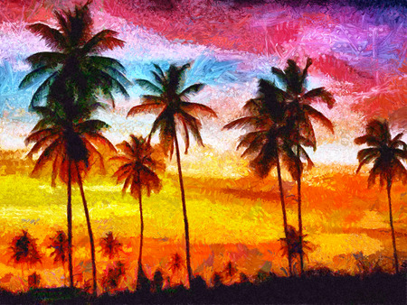 California sunset with palms oil painting Stock Photo