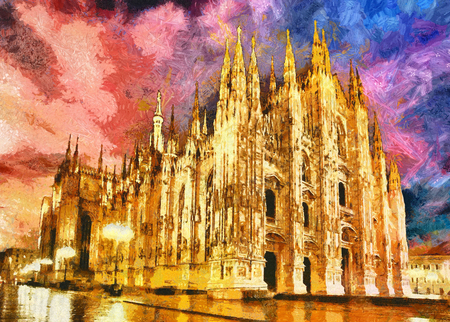 Milan Cathedral church Duomo at evening lights oil painting