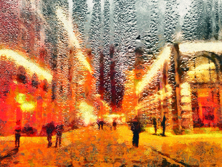 Strolling people on street through window with rain drops oil painting