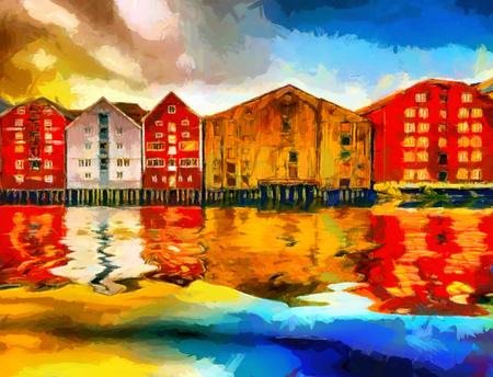 トロンハイムのカラフルな家湾の油絵
