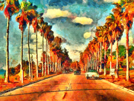 palm oil: Vintage California view oil painting Stock Photo