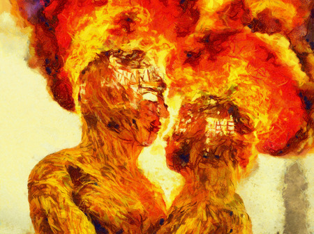 Burning man and woman - oil painting