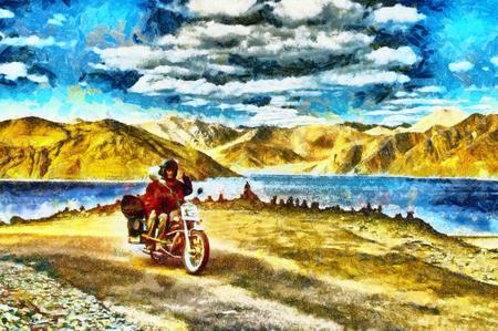 山と湖の油絵の中でオートバイに乗ってカップル