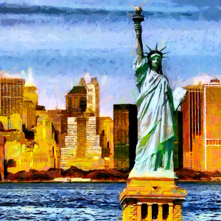 Liberty statue with skyscrapers background oil painting