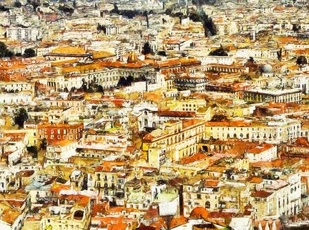 Naples cityscape texture landscape oil painting Stok Fotoğraf