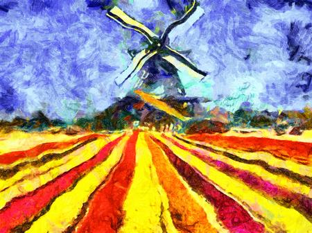 Dutch windmill tulip filed impressionist oil painting