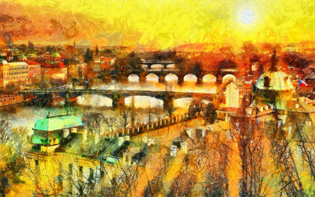 charles: Prague bridges at morning sun beams light cityscape oil painting