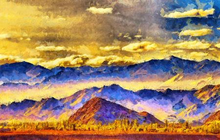 カラフルな山脈のシルエットとロック油絵の城 写真素材