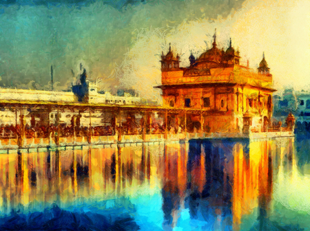 Golden Temple at Amritsar, India - oil painting