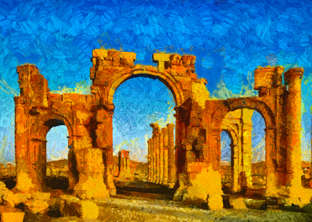 roman pillar: Famous arch of Palmyra, Syria oil painting