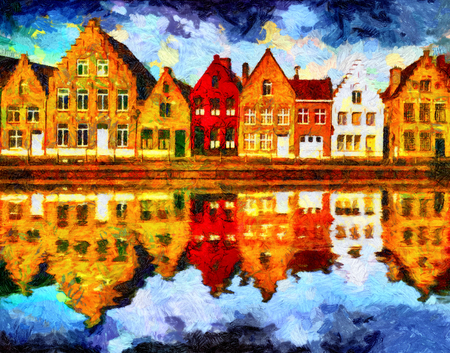 Medieval Brugge houses reflected in water oil painting Stock Photo