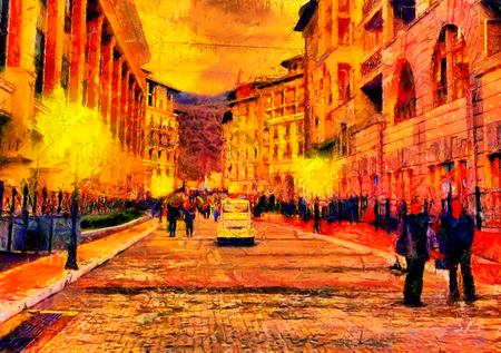 Street at evening with strolling people oil painting