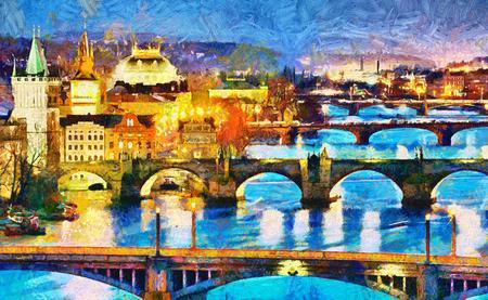 Prague illuminated bridges at night oil painting