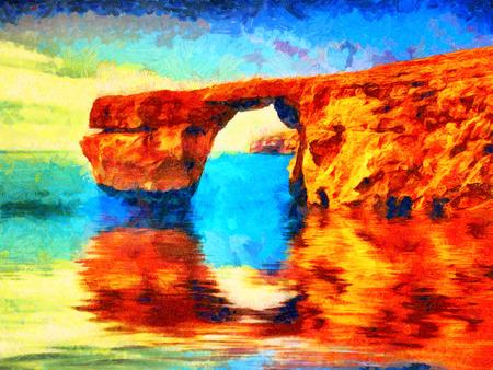 Azure window on Malta oil painting Stok Fotoğraf