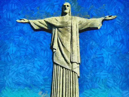 Rio Jesus Christ statue - oil painting