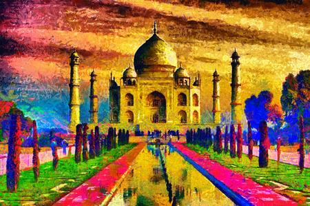 タージ マハール パレス カラフルな油絵 写真素材