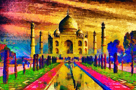 Taj Mahal palace colorful oil painting Stock Photo