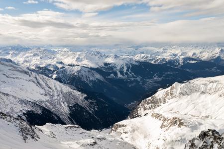 Alpine mountain ski resort landscape Stock Photo