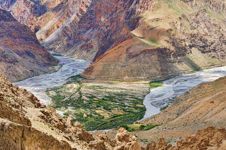 Spiti river view above from mountain