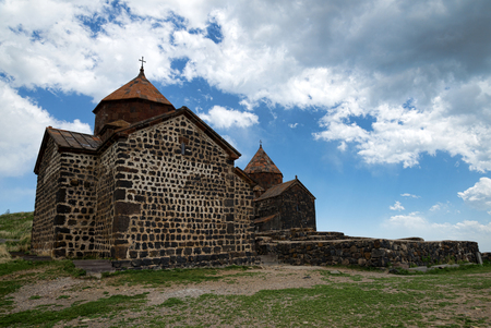 Sevanavank monastery temoke on the hill above sevan lake 版權商用圖片