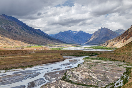 Spiti river valley mountain view