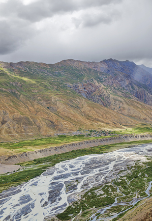 Panorama of Spiti valley green fields and snow peaks background