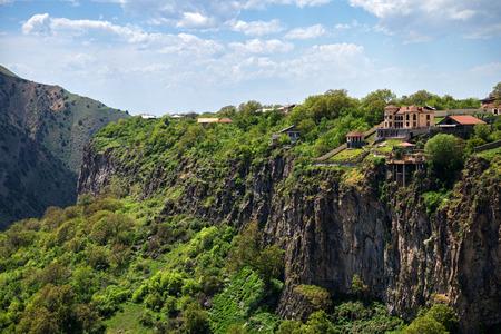 山の中の崖の上の家 写真素材
