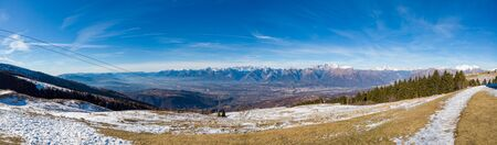 The view of Belluno and the Dolomites from the Navegal ski resort, Italy. Panorama 180