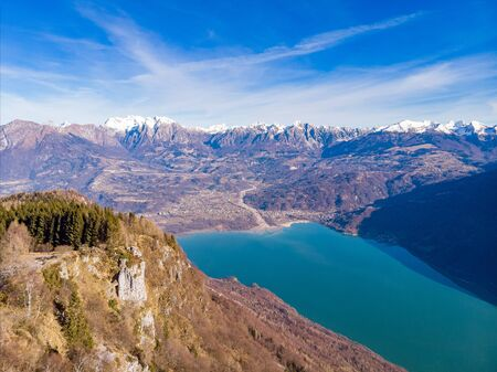 The view of the Lake santa Croce and the Dolomites Alps, Italy