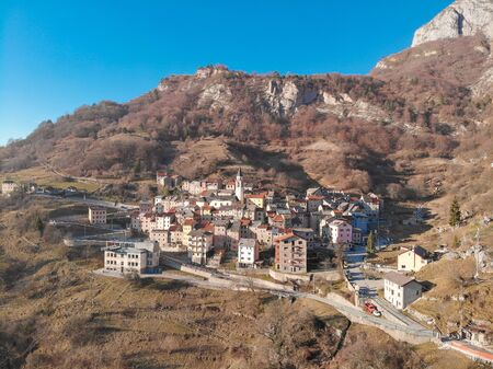 The drone view of the old village Casso Pordenone, province Belluno, Veneto, Italy