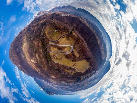 Lttle planet panorama of Dolomites, Italy