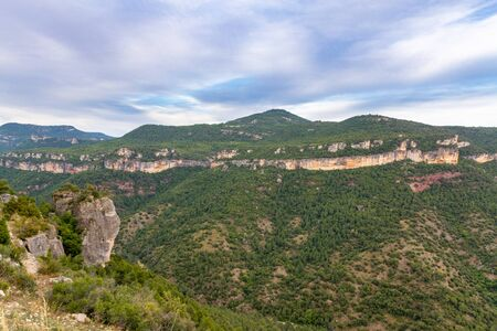 The cloudy sky over the valley of Priorat and Montsant in Catalonia, the view from Siurana village