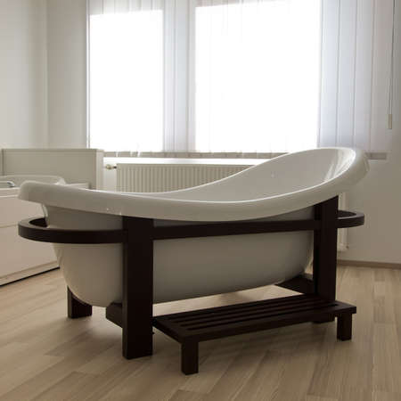 Modern design spa bath tub in bathroom interior photo