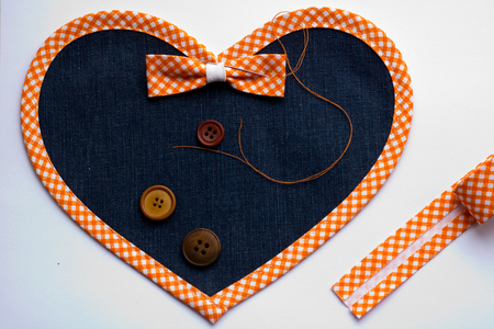stitched heart of canvas
