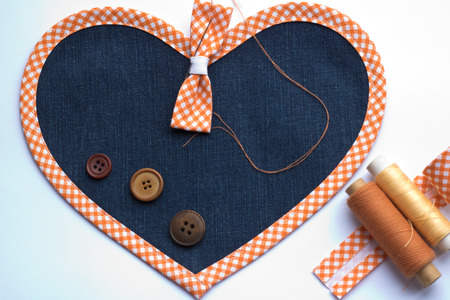 craft sewing ribbons, thread and buttons Stock Photo