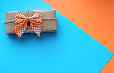 Little package with bow - copy space Stock Photo