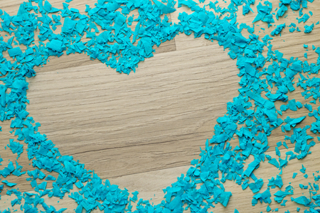 Heart -  scattered confetti in the shape of heart,  copy space Stock Photo