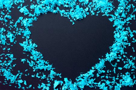 Confetti heart - heart border, on black background