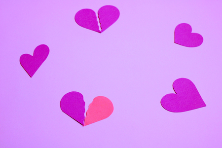 Various form of hearts - violet to bright pink background Stock Photo