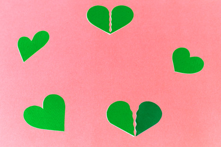 gently: Paper hearts on a gently pink background - copy space Stock Photo